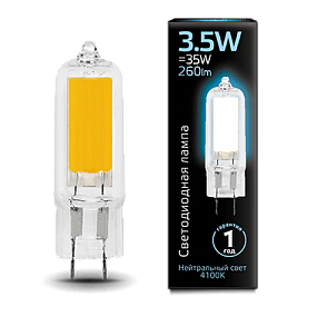 107807203 Лампа Gauss LED G4 AC220-240V 3.5W 4100K Glass