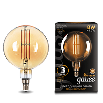 Лампа Gauss LED Vintage Filament G200 8W E27 200*300mm Golden 2400K
