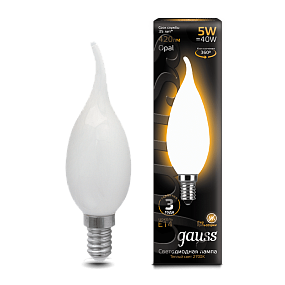 104201105 Лампа Gauss LED Filament Candle Tailed OPAL E14 5W 2700K