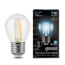 105802207 Лампа Gauss LED Filament Globe E27 7W 4100K