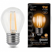 105802109 Лампа Gauss LED Filament Globe E27 9W 2700-3000K