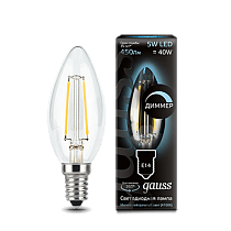 103801205-D Лампа Gauss LED Filament Candle dimmable E14 5W 4100К