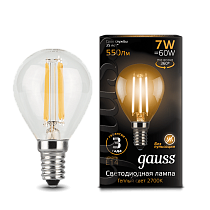 105801107 Лампа Gauss LED Filament Globe E14 7W 2700-3000K