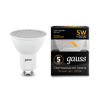 101506105-D Лампа Gauss LED MR16 GU10-dim 5W 3000K диммируемая