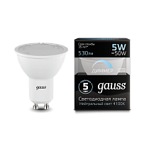 Лампа Gauss LED MR16 GU10-dim 5W 4100K диммируемая