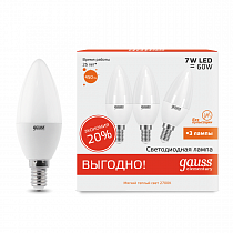 33117T Лампа Gauss LED Elementary Candle 7W E14 2700-3000K (3 лампы в упаковке)