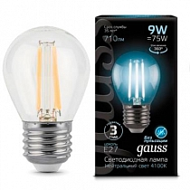 105802209 Лампа Gauss LED Filament Globe E27 9W 4100K