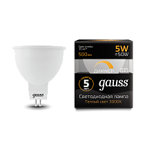 Лампа Gauss LED MR16 GU5.3-dim 5W 3000K диммируемая